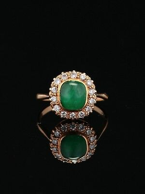 Vintage Natural Emerald And Diamond Cluster Ring