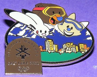 SALT LAKE CITY 2002 Olympic Collectible LE Pin - Mascots Above Skyline Black