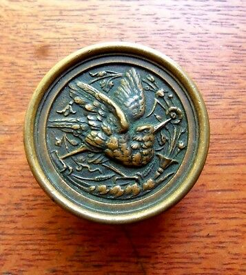Antique Ornate Victorian Brass Hummingbird Entry Doorknob Russell & Erwin c1877