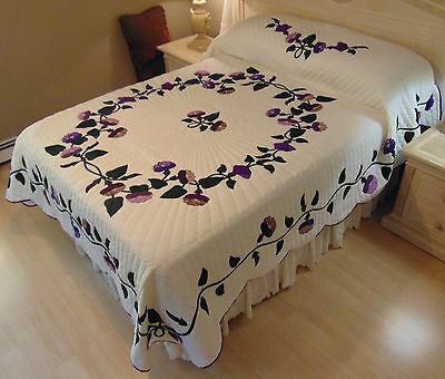 NEW! AMISH HANDMADE QUILT! ~ Morning Glory ~ Applique ~ 95 x 111