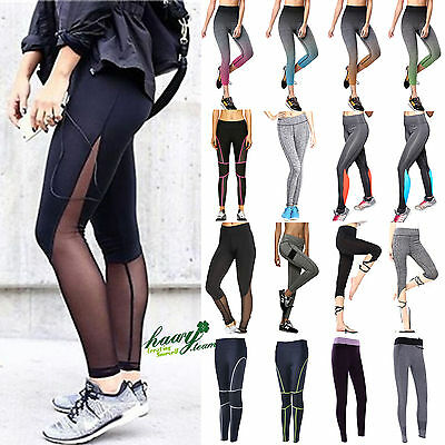 Womens Ladies Yoga Fitness Leggings Running Gym Stretched Sports Pants Trousers