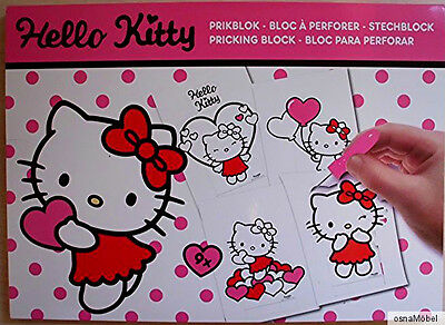 Hello Kitty Prickelset - 9 Prickelvorlagen + Unterlage + Prickelnadel - NEU (2)