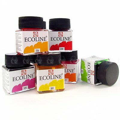 Talens Ecoline Liquid Watercolour Drawing Inks 30ml. Artists Water Colour Ink.