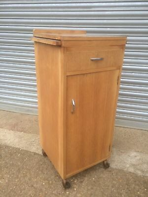 Rare old vintage industrial W H Deane High Wycombe Hospital cupboard on castors
