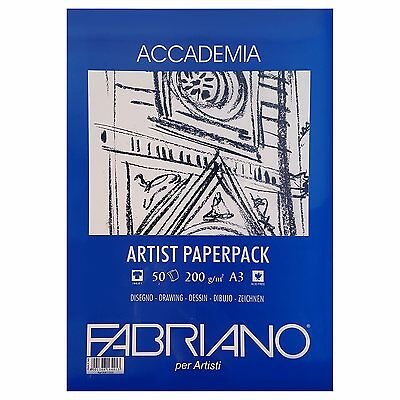 Fabriano Accademia 50 Sheet 200gsm A3 White Paper Pack. Artists Drawing Paper.