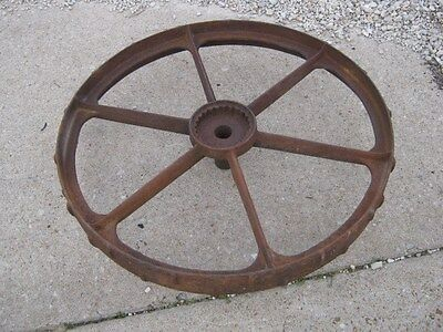 "Vintage Rustic Rusty Iron Farm Implement Wheel  farm decor 31 1/2"" diameter"
