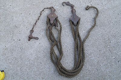 "Vintage 2 Metal Small Pulleys  1/2"" thick 20 FT long Manila Rope"
