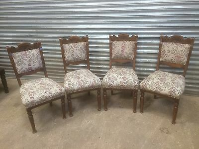 Set of 4 old antique Edwardian period oak dining chairs