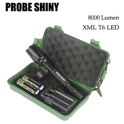 G700 X800 8000 Lumen Zoomable XML T6 LED Tactical Flashlight 18650 Battery Case