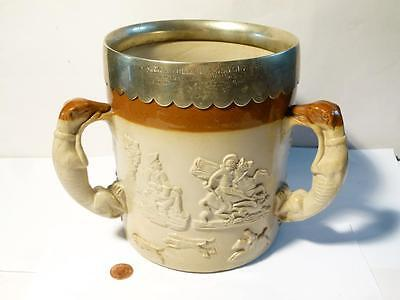 Antique 1875  QUEENS COLLEGE SCRATCH FOURS Rowing Nickel Mounted Stoneware TYG