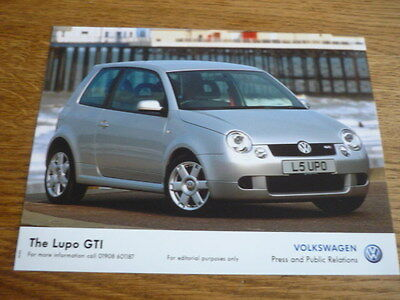 Vw Volkswagen Lupo Gti Press Photo 'brochure' Connected October 2002