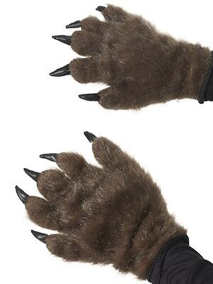 Halloween Fancy Dress Werewolf Hands Monster Gloves Brown New by Smiffys