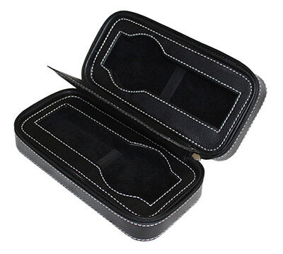 2 Watch Black Leather Velvet Travel Zippered Storage Zipper Case Mens Pouch Gift