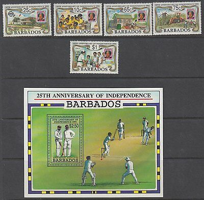 BARBADOS :1991 25th Anniversary of Independence set +MSheet SG 965-9+MS970 MNH