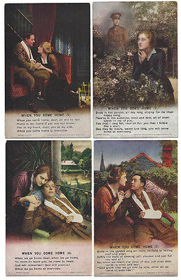 WW1 When You Come Home, Set of 4x Bamforth Song Card Postcards #4874