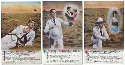 Till the Sands of the Desert Grow Cold, Set of 3x Bamforth Song Card Postcards