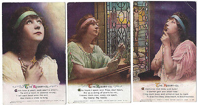 RELIGION The Rosary, Set of 3x Bamforth Song Card Postcards #4985