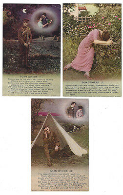 WW1 Somewhere, Set of 3x Bamforth Song Card Postcards #4809