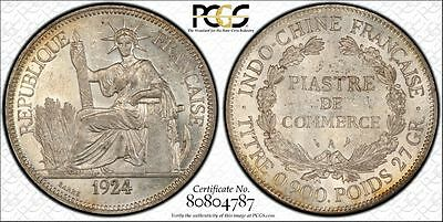 French Indochina 1 Piastre 1924 A AU58 PCGS silver KM#5a.1 Better Date