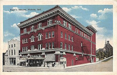 A49/ Wabash Indiana In Postcard c1915 Eagles Theatre Building
