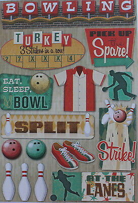 SCRAPBOOKING NO 006 - AT THE LANES TEN PIN BOWLING STICKERS from Card Stock