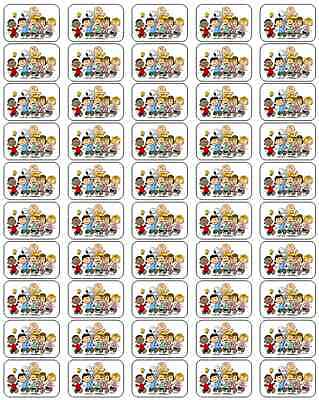 "50 Peanuts Gang Envelope Seals / Labels / Stickers, 1"" by 1.5"""