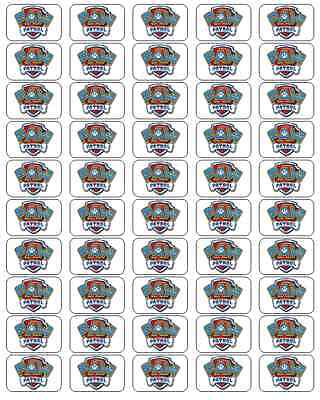 """50 Paw Patrol Badge Envelope Seals / Labels / Stickers, 1"""" by 1.5"""""""