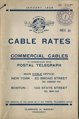 1926 Booklet - Postal Telegraph Cable Rates Guidebook - 24 Pages