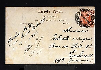 11691-URUGUAY-OLD POSTCARD MONTEVIDEO to TOULOUSE (france) 1913.WWI.Tarjeta.
