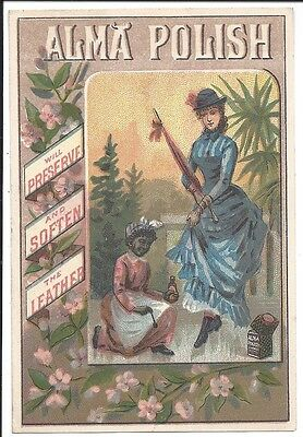 Black Americana:  Trade Card for Alma Shoe Polish, Shows Case of Product, 1880s