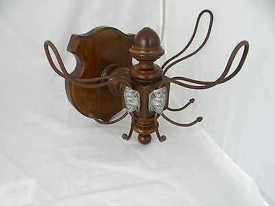 Antique Unusual Wooden  Coat Rack 9 Pegs Hat Hooks Grotesque Black Forest • CAD $224.91