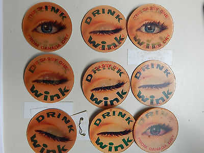 Rare Lot of 9 Canada Dry Wink Soft Drink Pinback Flashers