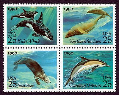 #2511a 25c Sea Creatures, Se-Tenant Block, Mint **ANY 4=FREE SHIPPING**