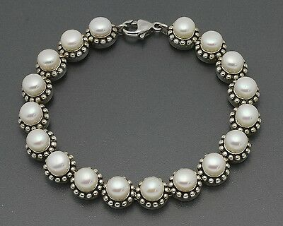 """Honora 7.5"""" Sterling White FW Button Pearl Bracelet with Bead Detail Heavy 27.6g"""