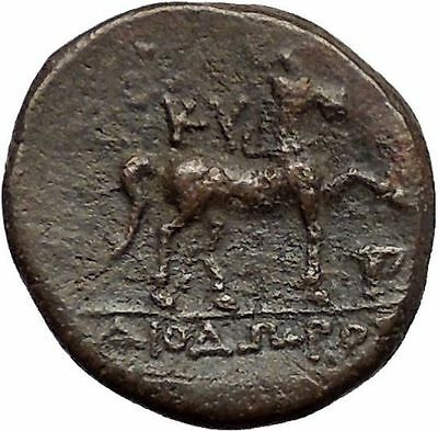 KYME in AEOLIS 250BC Amazon Horse Vase Authentic Rare Ancient Greek Coin i57261
