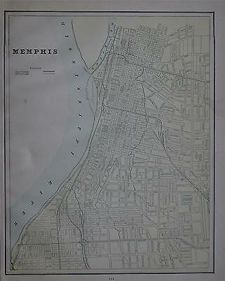1889 Memphis, Tn. Antique Color Atlas Map** Denver map on back 127 years-old!