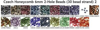 CLEARANCE Czech Glass Honeycomb 6.5mm 2-Hole Beads (30 bead strand) 2