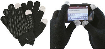 New Kids Teens Gripper Touch Screen Gloves. Black. One Size. Conductive Tips