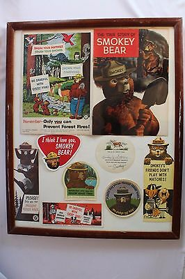 Vintage Framed Smokey Bear Fire Prevention Advertising Display Book-Marks-Decals