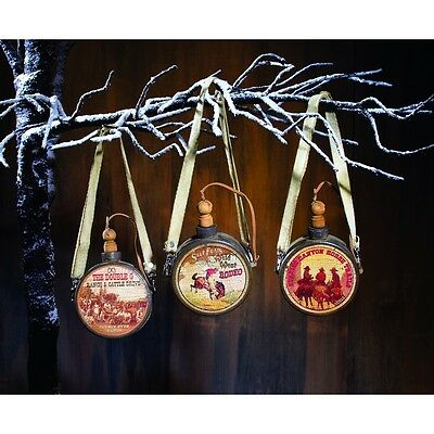 Lot Of 3 Mini Wild West Rodeo & Country Cowboy Canteen Christmas Ornaments - New