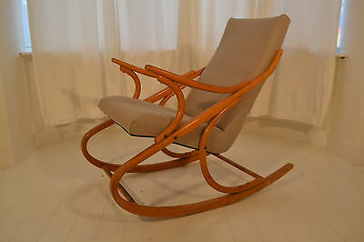 Stunning Vintage Bentwood Beech Czech Ton Sculptural Rocking Chair