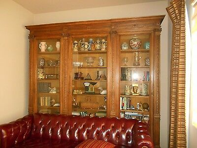 Antique French Victorian Library Bookcase 19th Century Stunning Showpiece