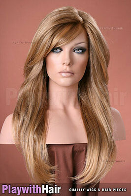 Long Sexily Waved Mono Top Wig Sunkissed Brown Blonde : Jon Renau - Amanda