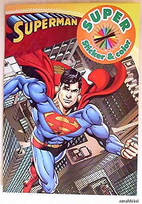 Superman - DC Comics - Malblock - 16 Malvorlagen + Sticker - DIN A4 - NEU