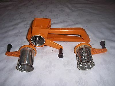 1970's Retro French Orange Plastic Moule Grater & 3 Crank Barrels