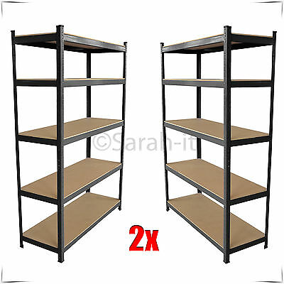 2 Bays 5Tier Heavy Duty Industrial Warehouse Racking Shelving Storage Shelf Rack