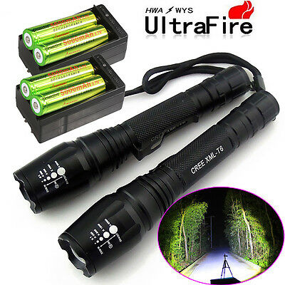 2X Police 5000 Lumens Led Flashlight 18650 Cree T6 XML Torch +Battery + Charger