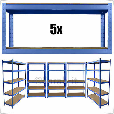 5 Bays Heavy Duty Boltless Garage Warehouse Shelving Racking Metal Storage Rack