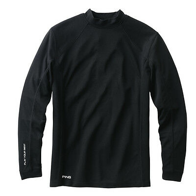 Ping Textured Mock  Black Large - mens golf shirt