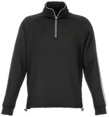 Dunning Thermal Stripe 1/4 Zip Black/Charcoal Large - mens golf outerwear